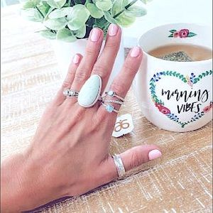 Boho Statement Oval SemiPrecious Stone Silver Ring